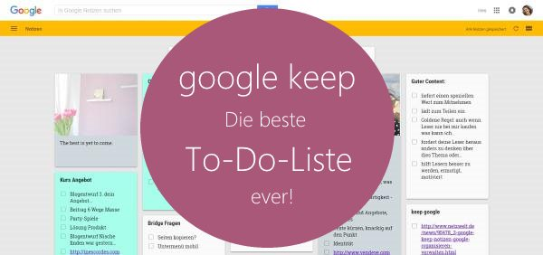 google keep notizbuch to do liste