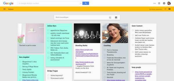 google keep. To-to-liste und notizbuch